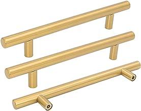 Goldenwarm 15pcs Brushed Brass Drawer Pull Gold Cabinet Cupboard Door Handle Pull Knob LS201GD160 for Furniture Kitchen Ha...