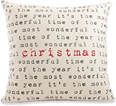 Mud Pie Most Wonderful Time Christmas Pillow, Multi-color, 22 inches x 22 inches