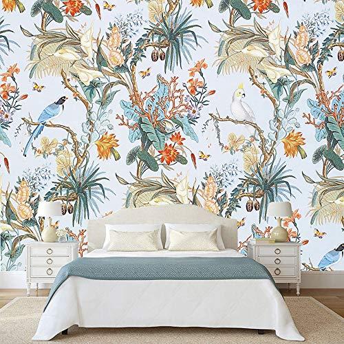 BHXIAOBAOZI behang fotobehang op maat 3D fotobehang Europese stijl bloem vogel pastorale muurschildering voor woonkamer slaapkamer achtergrond muurdecoratie schilderij behang (Bh0242) 400cm(W)×250cm(H)