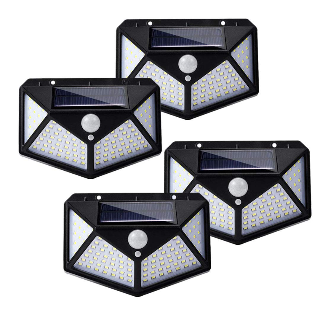 4 Pack 100 Led Solar Motion Sensor Lights Outdoor IP65 Waterproof with Wide Angle Eicaus Wireless Weatherproof Solar Powered Lights for Steps Yard Garage Porch Patio