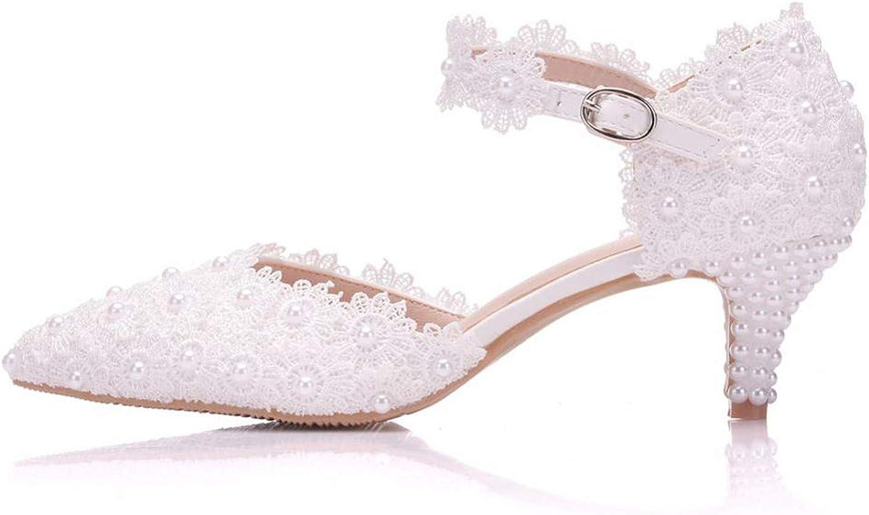 Women Pump Leroyca Women shoes Lace Wedding shoes 5cm High Heels Pumps Sweet Princess Party Mary Janes Heels