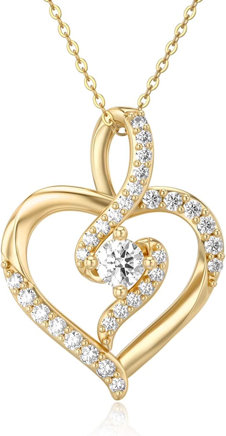 SISGEM 14K Solid Gold Heart Women Lowest price challenge online shopping 0.55 Necklace Yellow for