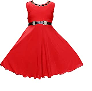 c5da6faa43 YAYAVAR Girls Crepe Silk Red Colored Casual Western Frock for Girls - Set  of 01 from