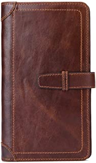 Wristlet Wallet Leather/Wallets for Men with Zipper Compartment/Money Clip Wallets for Men/Travel Wallet phone wallet Brown