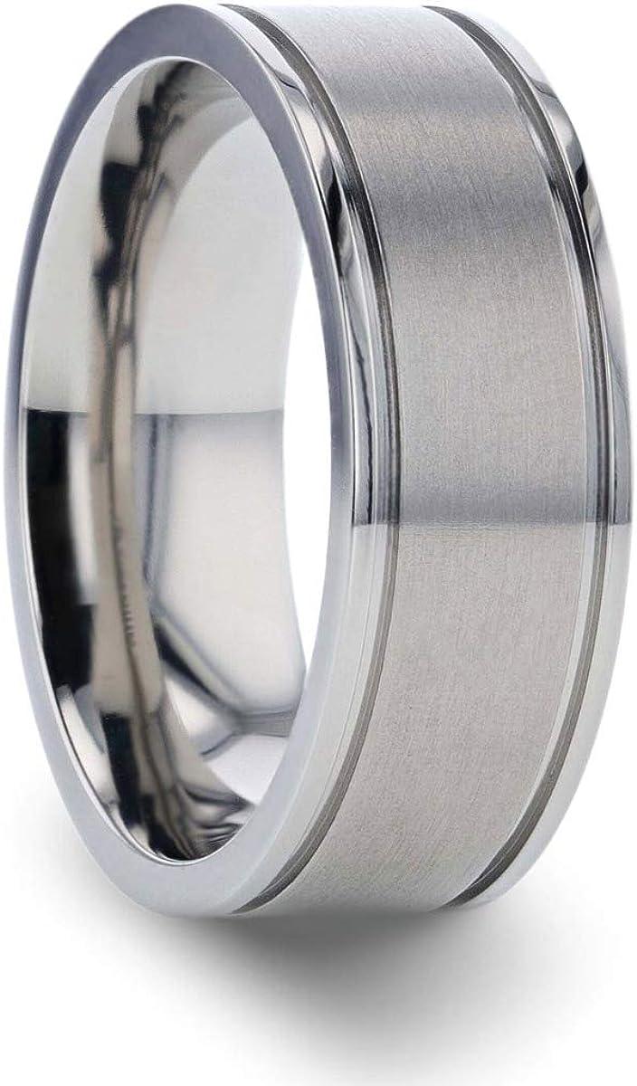 Thorsten Fairfield | Titanium Rings for Men | Lightweight Titanium | Comfort Fit | Flat Satin Finish Titanium Ring - 8 mm