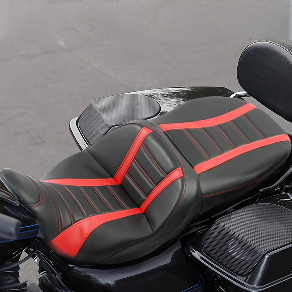 Black Blue XFMT Deluxe One-Piece Two-Up Motorcycle Rider Passenger Seat For Harley Davidson Touring Road King Ultra CVO Street Glide Road Glide Electra Glide 2009-2020