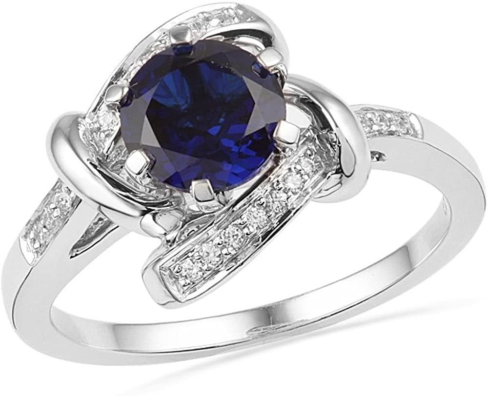 DGOLD National products Sterling Silver Now on sale Lab Create Sapphire Blue Round Diamond and