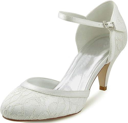 ZHRUI MesLes dames Amande Toe Chaussures De Soirée Mariage Mariée Rétro Dentelle Rétro (Couleuré   Ivory-5cm Heel, Taille   7.5 UK)