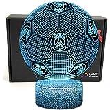 フットボール形状 3D 錯視スマート 7 色 Led ナイトライトテーブルランプと Usb 電源ケーブル、リーグ 1 のためのサッカーファンのギフト (パリ ? サンジェルマン)