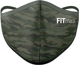 FITmask Mascarilla Pro Reutilizable Lavable Certificada Tejido Hidrófugo Made in Spain Green Camo - Adulto Cabecera - L
