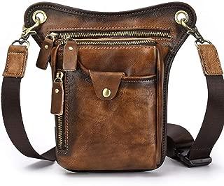 Leather Retro Men's Cool Mobile Phone Bag - Outdoor Hiking Riding Pockets, Top Layer Leather Men's Bag, Shoulder Messenger Bag