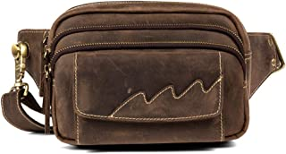 Waist Bag - Retro Leather Men's Pockets, Multi-Function Crazy Horse Skin/Personality/Wear/Large Capacity/Hand Polished 21 * 6 * 14CM Cool