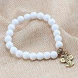 Bracelet En Pierre Bracelets Et Bracelet Fashion 8Mm Naturel Blanc Porcelaine Avec Pendentif Croix En Alliage Clé Lune Hommes Bracelets En Perles Perles Bijoux Bracelet Couple Yoga,Gold Avion
