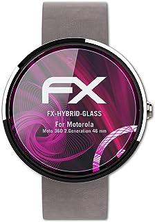 atFoliX Plastglasskyddsfilm är kompatibel med Motorola Moto 360 2.Generation 46 mm Glasskydd, 9H hybridglas FX Skyddsglas ...