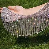Pawkyjar 0.5 Yard Rhinestone Ribbon Tassel Chain Fringe Diamond Bridal Trim Fringe Crystal Applique Accessories