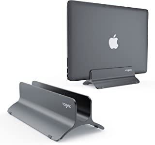 VOGEK Vertical Laptop Stand, Macbook Holder Adjustable Size Desktop Space-saving Notebook Holder Compatible with Macbook Air/ Pro, Surface Pro, Samsung Notebooks and More (Space Grey)
