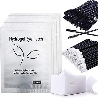 Eye Gel Pads, Aikvigss 50 paar wimperverlenging Under Eye Gel Pads Lint Free Eyelash Patches, 50st wimperborstels, 50st we...