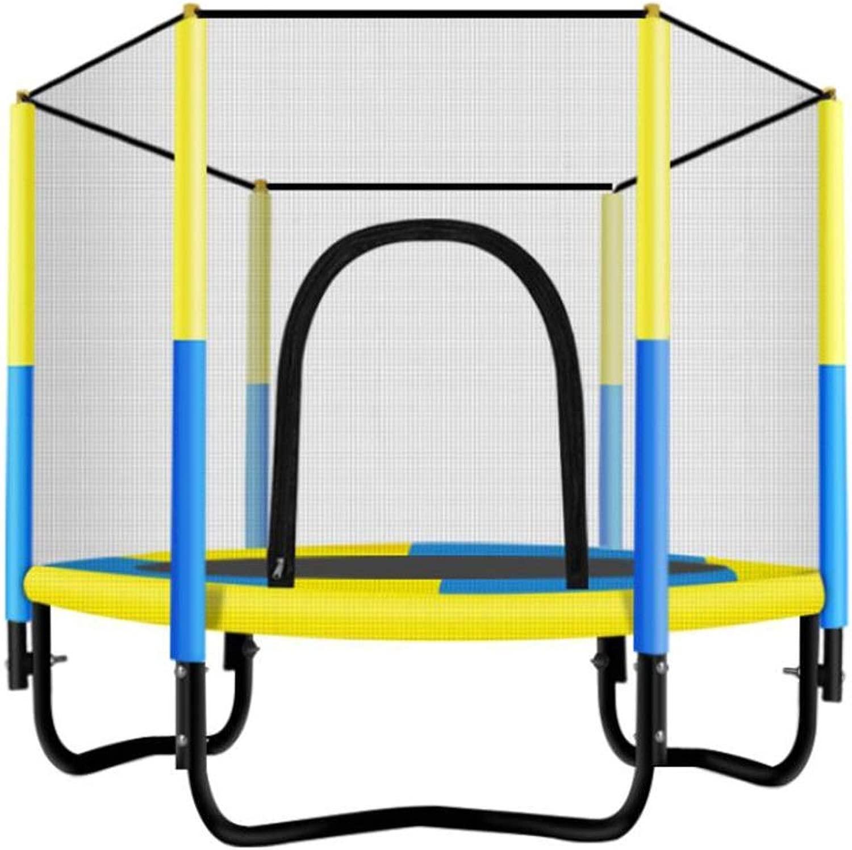 室内子供トランポリン セーフティネットカバー付き 発泡チューブ PPジャンプクロス 弾性パッド 安定した構造 厚鋼管 取り付けが簡単、3色 (Color : 黄, Size : 150x130cm)