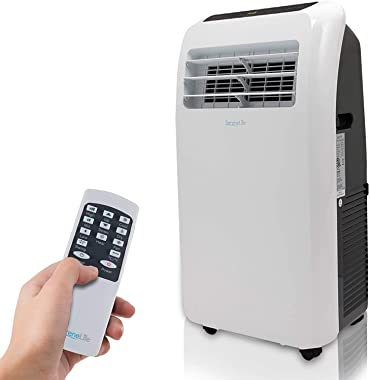 SereneLife SLPAC8 8,000 BTU Portable Air Conditioner, 3-in-1 Floor AC Unit with Built-In Dehumidifier, Fan Modes, Remote Control, Complete Window Mount Exhaust Kit for Rooms Up to 225 Sq. ft, White