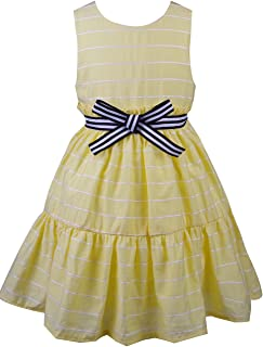 Spring&Gege Little Girls' Dress Sleeveless Striped Bow Tie Backless Party Summer Sundress