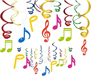 CC HOME Music Notes Decorations, Musical Note Whirls Decoration,Music Notes Birthday Party Supplies,Music Note Ceiling Hanging Swirl Decoration for Kids,Adults,Music Party Decorations 30 PCS
