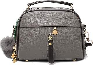 Kwok Women Fashion Solid Color Crossbody Bag Hairball Hand Bag Shoulder Bag Messenger Bag Handbag Leisure Bag Travel Bags Handbag Totes