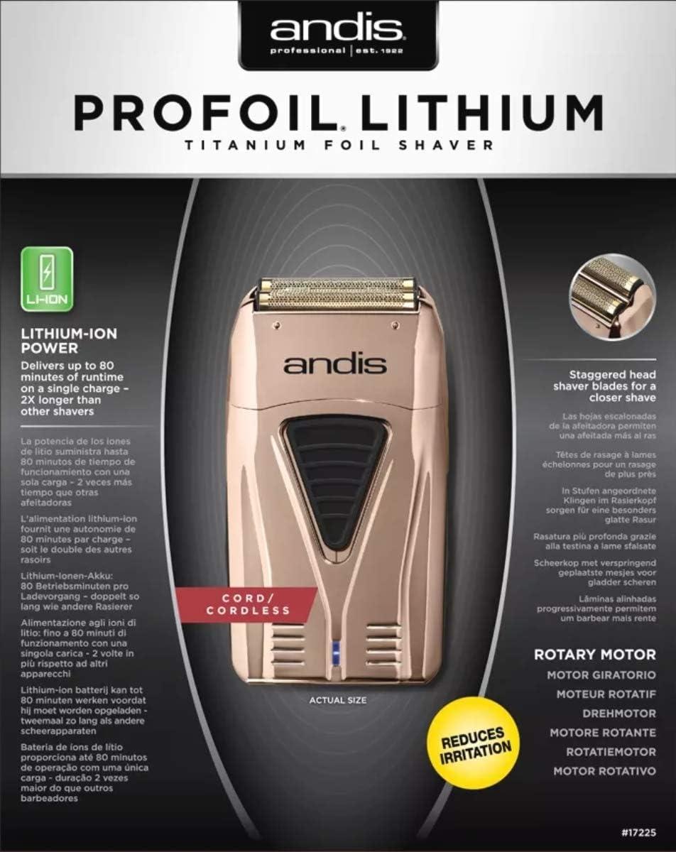 ANDIS Plus PROFOIL Lithium Titanium Foil Shaver, Negro, Estandar