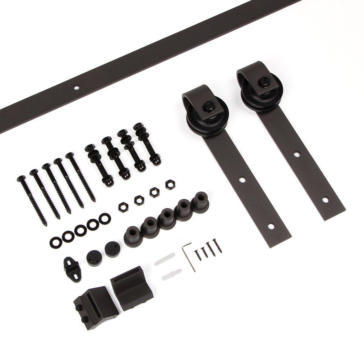 decors-a 6.6 ft Classic deslizante Granero Puertas Hardware de acero color marrón oscuro – Puerta Corredera de madera hardware Track Kit: Amazon.es: Bricolaje y herramientas