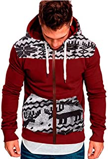Lanhui Mens Hooded Sweater Jumpsuit Splicing Autumn Winter Casual Hoodie Print Zipper Bodysuit Loose Straight Pajamas One Piece