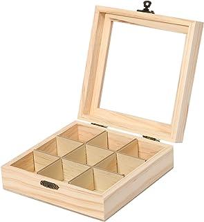 Sucute Boîte à thé en bois, 9 compartiments, organiseur, coffre, boîte de rangement en bois, sucre, boîte à colis 15 x 15 ...