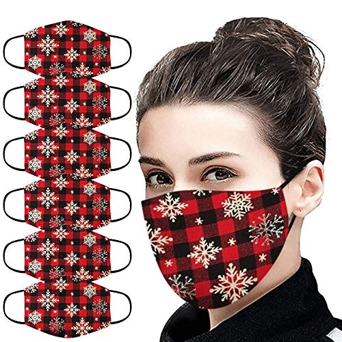 YAYUMI Adult Washable Printing Breathable Christmas Face Bandanas Dust-Proof Adjustable Face Scarf 6PC