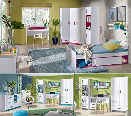 QMM Traum Moebel Jugendzimmer Kinderzimmer komplett Thiago Set C Eckschrank 2 Standregale Schreibtisch Wandregal Bett 200x90 NEU