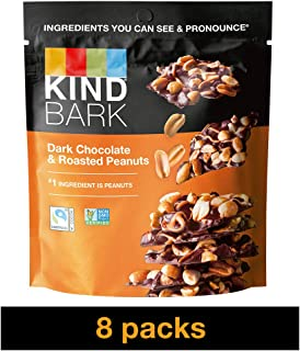 KIND BARK Dark Chocolate & Roasted Peanuts, 3.6-Ounce Bag (Pack of 8)
