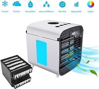 Climatizador Evaporativo Air Cooler Portatil Aire Acondicionado,Mini Ventilador Humidificador Purificador de Aire, 7 Colores Luces LED