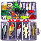 XTON 78Pcs Fishing Lures Kit Set for Bass, Trout, Salmon Including Frog Lures, Plastic Worms,...