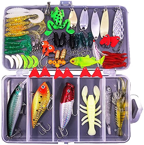 XTON 78Pcs Fishing Lures Kit Set for Bass, Trout, Salmon Including...