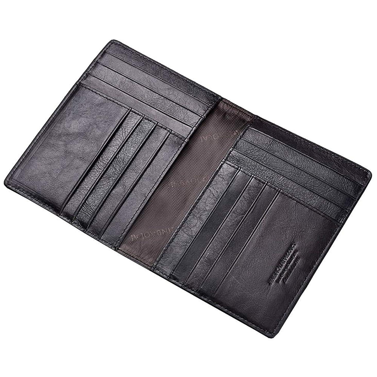 定常ドアミラー不機嫌クレジットカードケース カード/パスポートホルダー 二つ折り 本革 レザー 大容量/便利 カード収納 メンズ