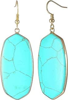 Crystal Quartz Stone Dangle Hook Earrings Oval Gold Plated