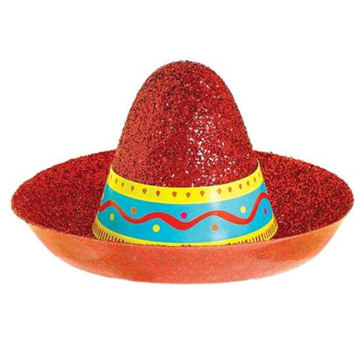 Amscan Cinco De Mayo Sombrero Mini Red Glitter Hat | Fiesta Accessory | 12 Ct.