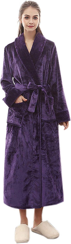Elonglin Women's Men's Coral Fleece Bathrobe Full Length Dressing Gowns Housecoat Sleepwear