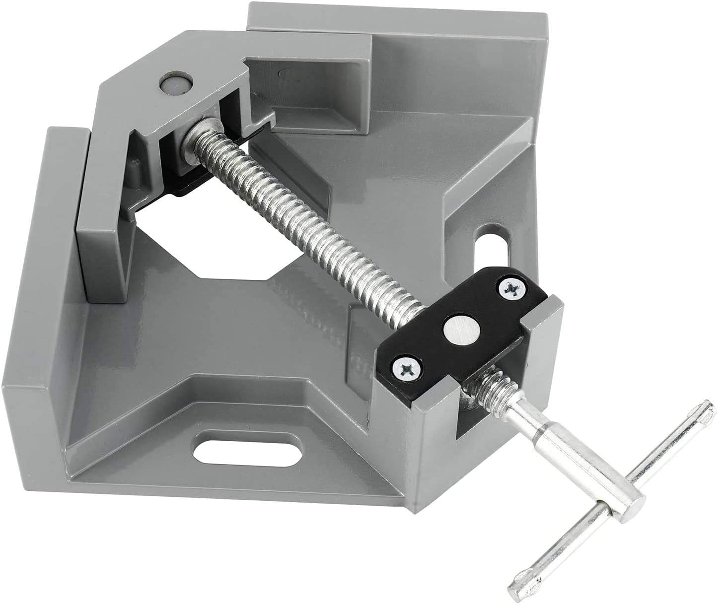 Homtone Right Angle Corner Clamp T-Shaped Handle 90 Degree Clamp Aluminum Alloy Angle Right Clamp with Adjustable Swing Jaw for Woodworking Photo Frame Vise Holder Gray