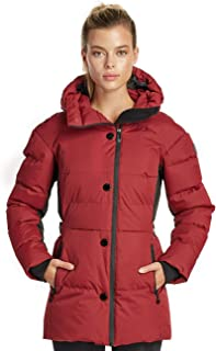 Noize Juliette Women's Winter Jacket, Mid Length Quilted Parka, Belted Waistline