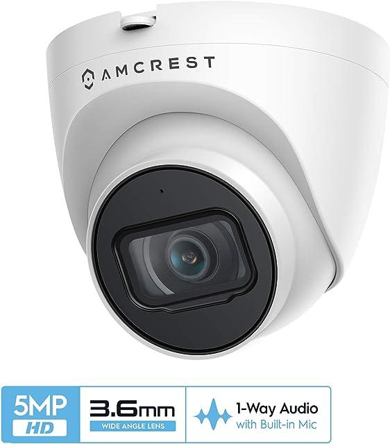 Cámara PoE de torreta IP de Seguridad para Exteriores UltraHD 5MP de Amcrest NightVision de 98 pies Lente de 2.8 mm Resistente a la Intemperie IP67 grabación MicroSD (256 GB) (IP5M-T1179EW-36MM)