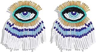 Tassel Statement Dangle Earrings for Women - Handmade Beaded Flamingo/Cactus/Evil Eye Drop Earrings Bohemian Layered Fringe Statement Jewelry, Idea Gift for Mom, Sister and Friend
