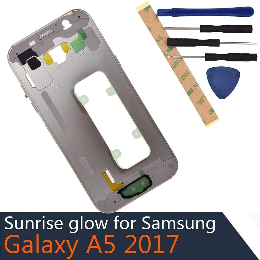 幸運署名穿孔するA520F Metal Middle Frame ON OFF Button + Volume Button + ON OFF Volume Flex Cable Replacement for Samsung Galaxy A5 2017 A520K gold