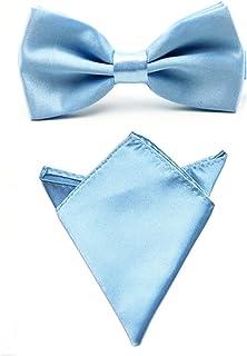 Men Satin Solid Color Pre-tied Tuxedo Bowtie Bow Tie Handkerchief Pocket Square Set (Light Blue)