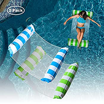 2 Pack Water Swimming Pool Float Hammock,Pool Float Lounger,Water Hammock Lounger Swimming Floating Bed Hammock,Comfortable Inflatable Swimming Pools Lounger for Adults Vacation Fun and Rest