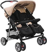 Estink Cochecito gemelar compacto plegable apto para niños menores de 15 kg, para niños de 6 a 36 meses, unisex, para niños, gris topo y negro, 93 x 68 x 103 cm
