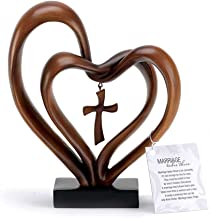 Dicksons It Takes Three Heart and Cross Brown 8.5 x 9.5 Resin Stone Pedestal Table Top Decoration