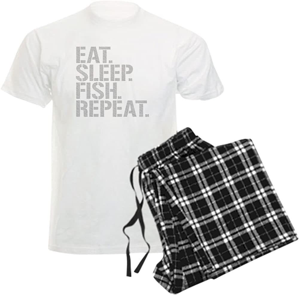CafePress Eat Manufacturer direct delivery Sleep Fish Pajamas Set Repeat Long Beach Mall Pajama